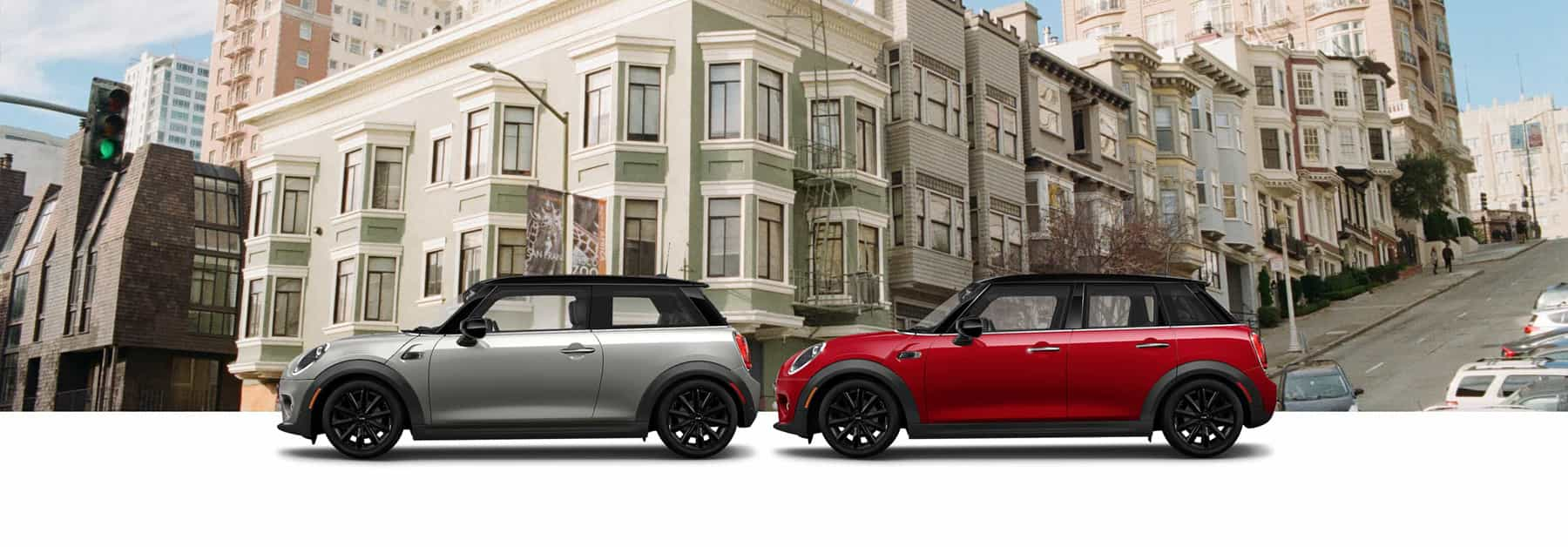 MINI Oxford Edition Mini Cooper Hardtop 2 Door and Oxford Edition MINI Cooper Hardtop 4 Door in front of residential area of a city